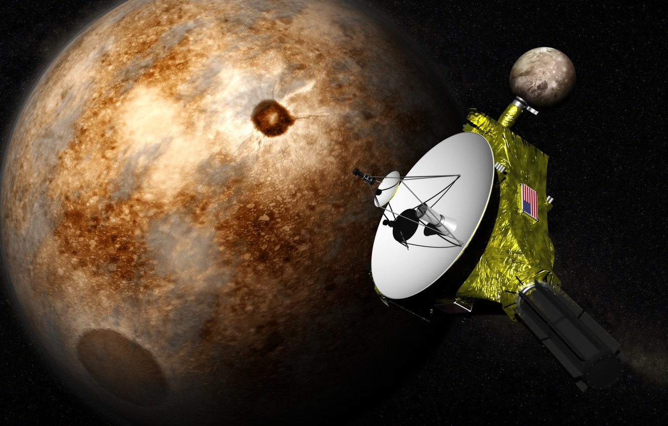 "Photo wallpaper space, stars, surface, Pluto, automatic interplanetary station, ""New horizons"""