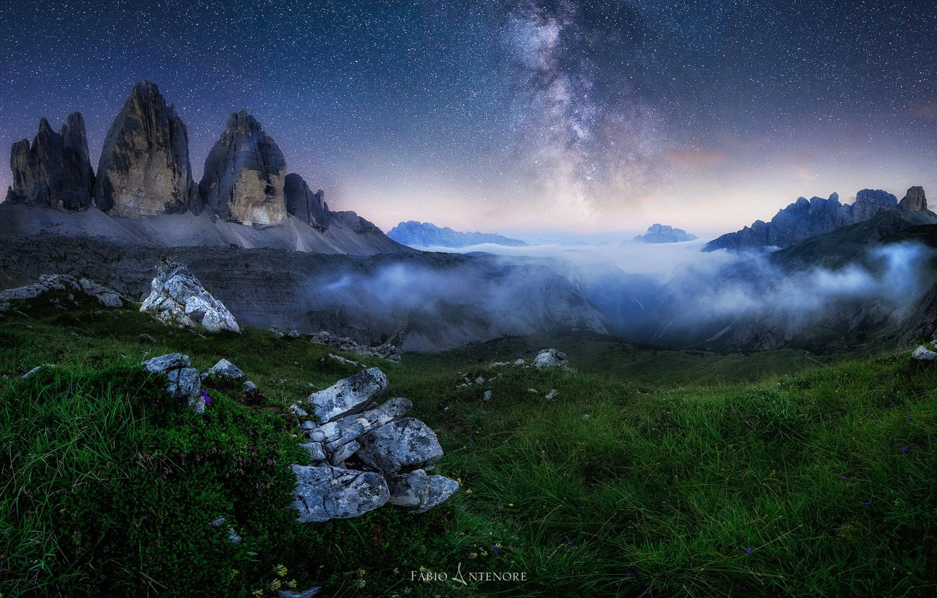 Photo wallpaper the sky, mountains, night, the milky way