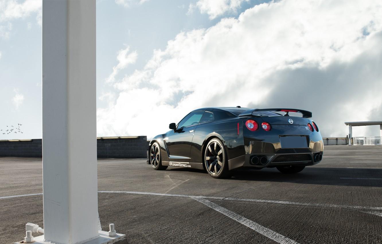 Photo wallpaper GTR, Nissan, sports car, black, Nissan, rear