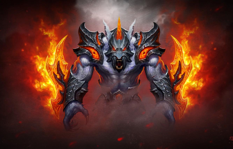 Photo wallpaper fire, helmet, armor, dota 2, Ursa, Ulfsaar