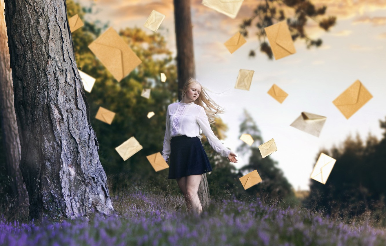 Photo wallpaper girl, nature, letters