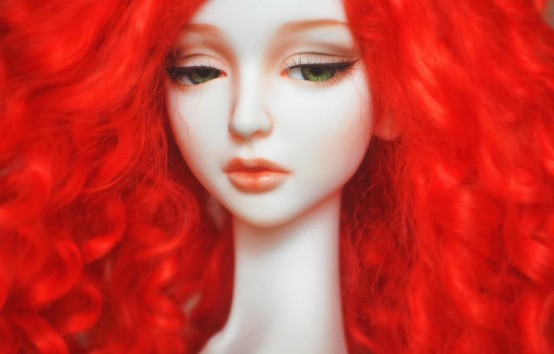 Photo wallpaper sadness, face, eyelashes, mood, hair, doll, red, doll