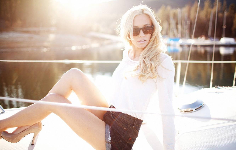 Photo wallpaper summer, girl, pose, shorts, glasses, blonde