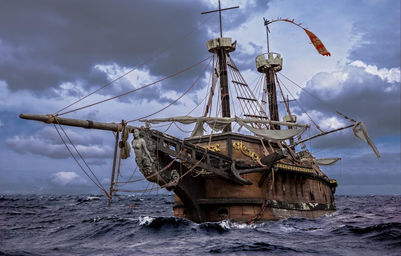 Photo wallpaper wood, water, boat sails