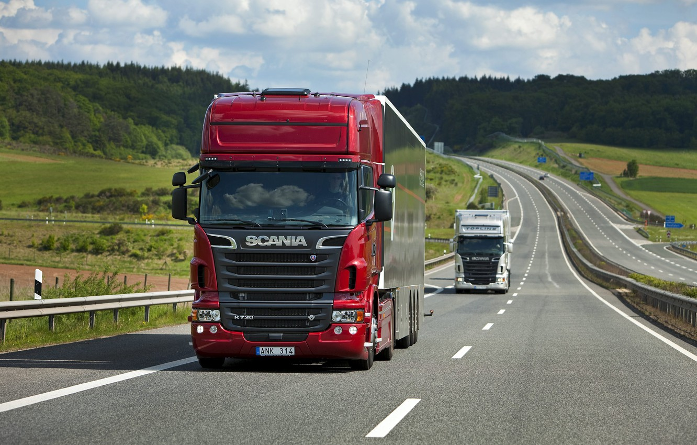 Photo wallpaper Nature, Road, Truck, Field, Forest, Truck, Scania, Tractor, Scania, Scania Trucks, R730, Р730, Road, Topline