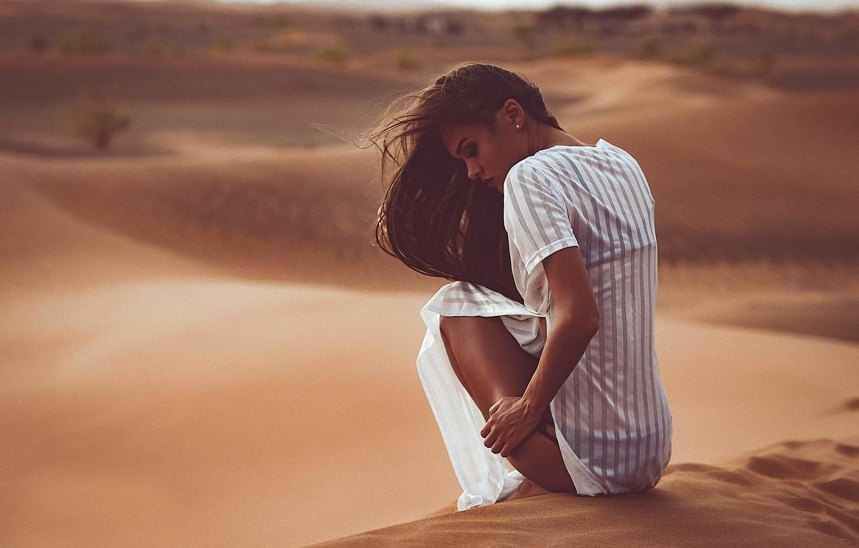 Photo wallpaper girl, desert, model, legs, Chromatropic