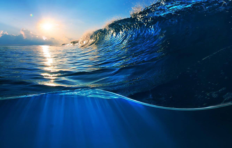 Photo wallpaper sea, water, sunset, the ocean, wave, sky, sea, ocean, blue, splash, wave