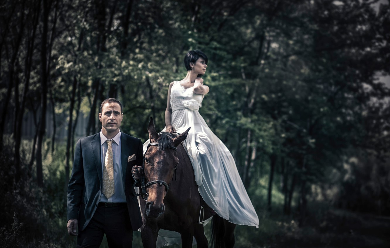 Photo wallpaper girl, dress, costume, male, horse, top, style in clothes