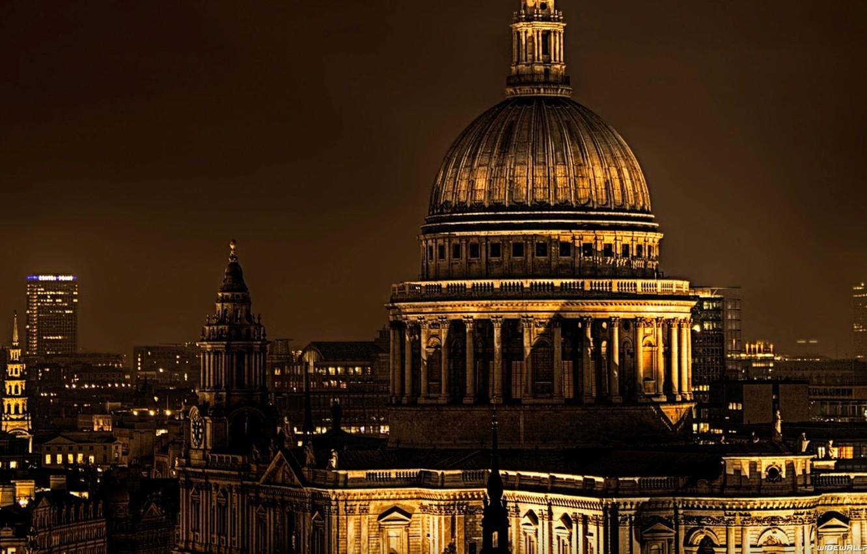 Photo wallpaper night, the city, England, London, the evening, UK
