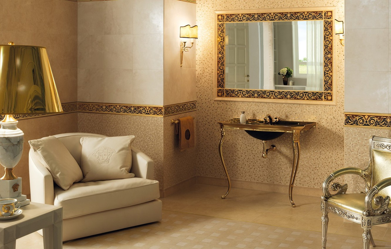 Photo wallpaper gold, lamp, interior, logo, mirror, chairs, brand, bathroom, Versace