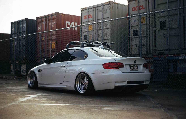 Photo wallpaper white, BMW, road.