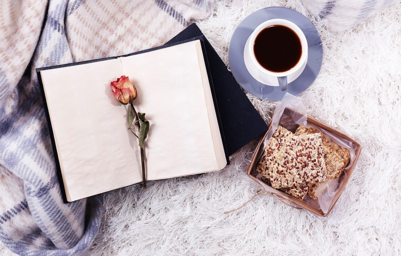 Photo wallpaper rose, coffee, book
