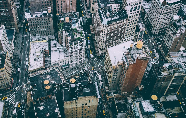 Wallpaper People New York Roof Manhattan Cars Street