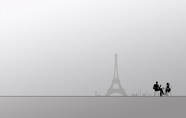 Photo wallpaper white, girl, creative, background, people, city, girls, people, Paris, minimalism, guy, guys
