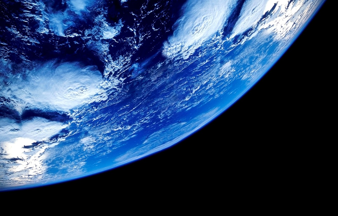 Photo wallpaper space, clouds, earth, planet, orbit, Earth, oceans, Our planet