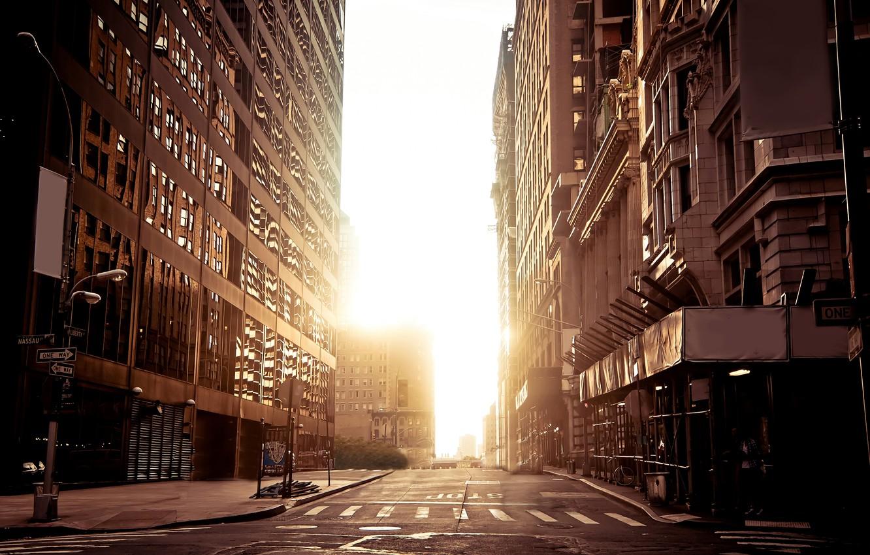 Photo wallpaper city, the city, New York, New York, city, urban, empty streets. Buildings, empty street .buildings