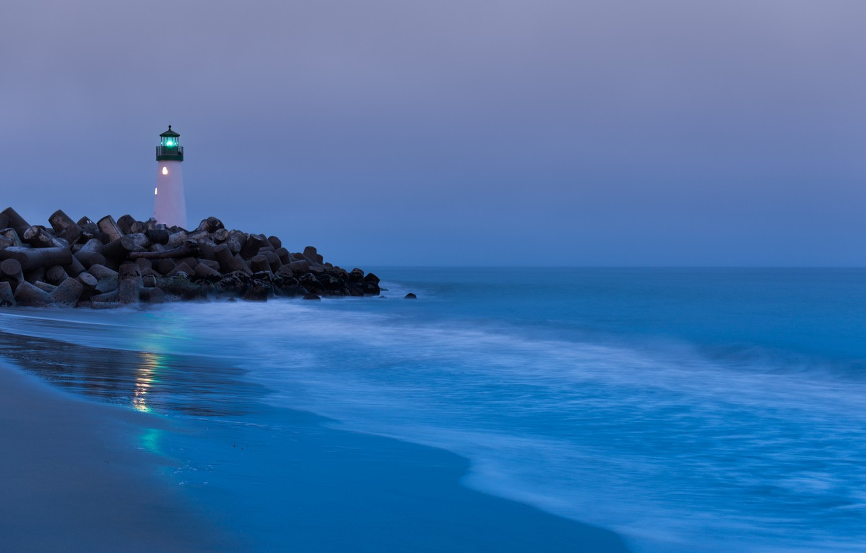 Photo wallpaper sand, light, stones, the ocean, shore, lighthouse, CA, surf, USA