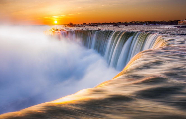 Wallpaper Winter The Sun River Morning Niagara Canada Niagara