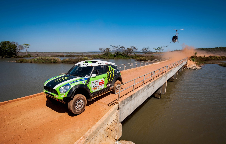 Photo wallpaper Bridge, Green, Helicopter, Race, Mini Cooper, Rally, Dakar, Dakar, MINI, Mini Cooper, X-raid