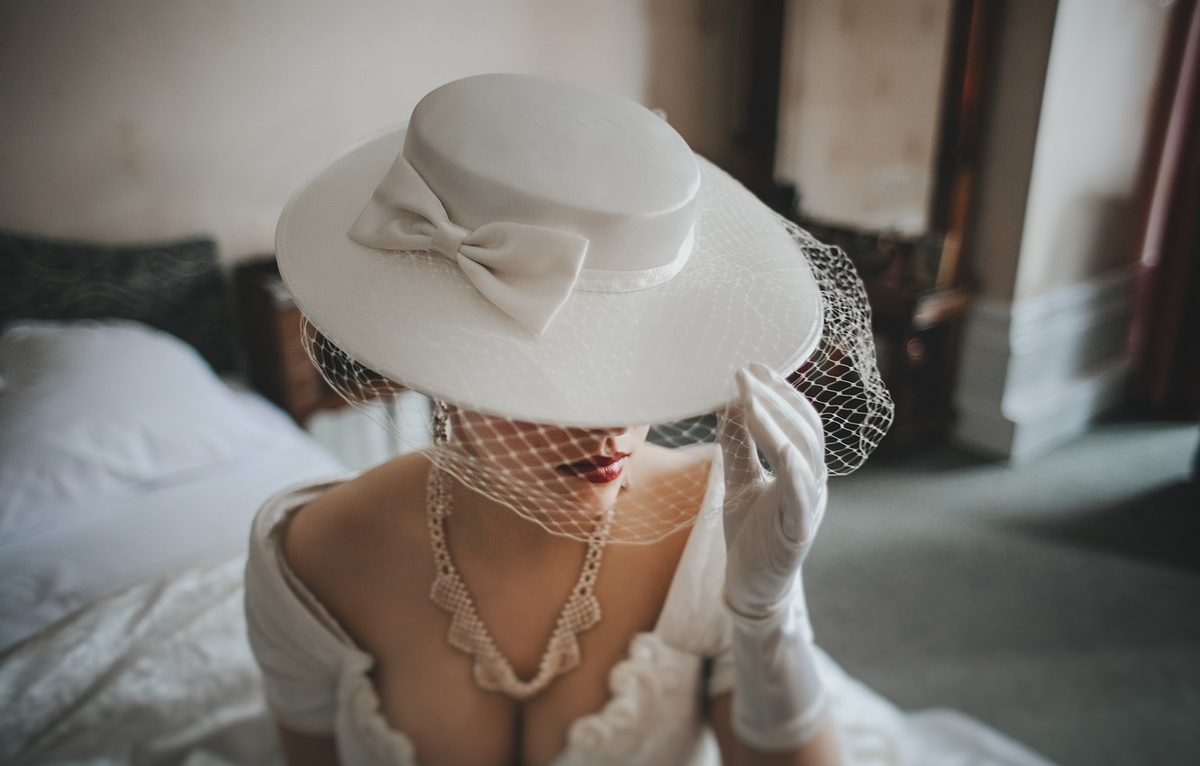 Photo wallpaper white, hat, the bride, bow. glove. necklace