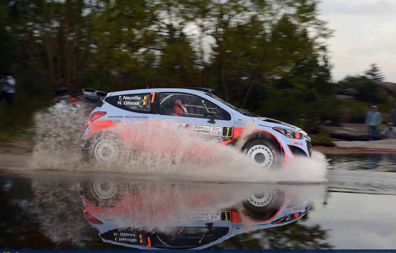 Photo wallpaper Reflection, Puddle, Squirt, Hyundai, WRC, Rally, Rally, i20, Hyundai, Thierry Neuville