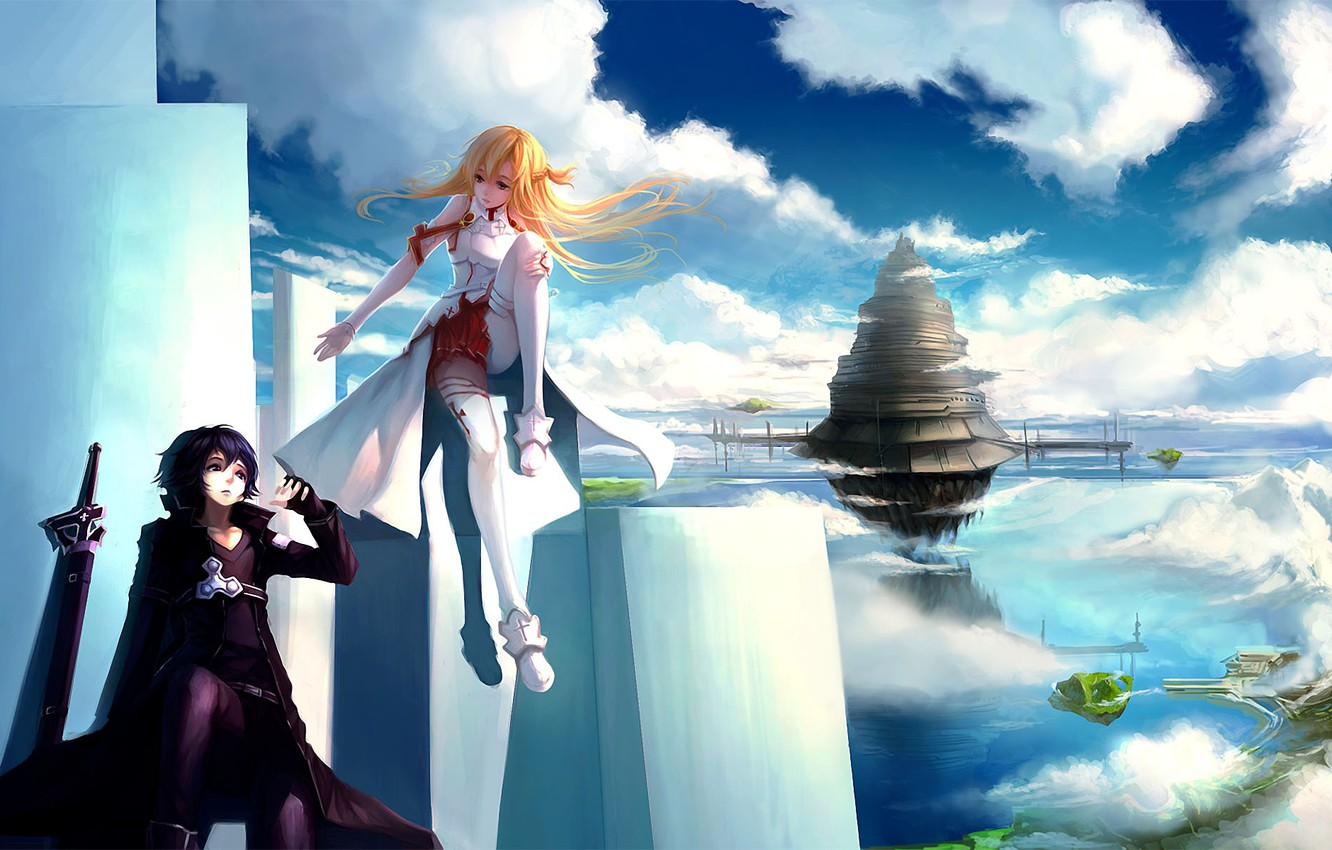 Photo wallpaper girl, clouds, the city, weapons, tower, art, plate, guy, in the sky, sword art online, …