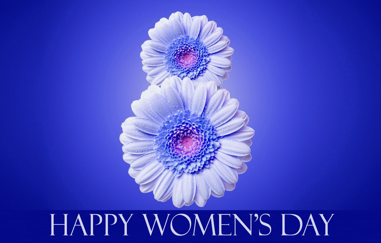 Photo wallpaper flowers, the inscription, March 8, blue background, international women's day