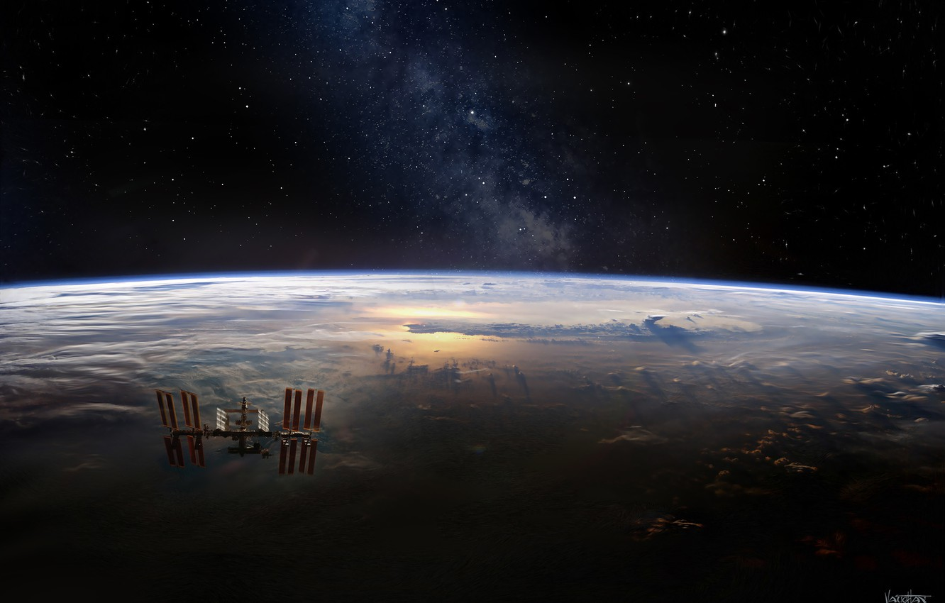 Photo wallpaper space, earth, the milky way, space station, International