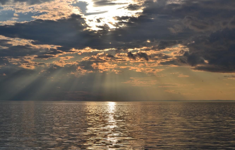 Photo wallpaper Sunset, The sun, The sky, Nature, Clouds, Nature, Clouds, Sky, Sun, Sunset, Lake Baikal, The …