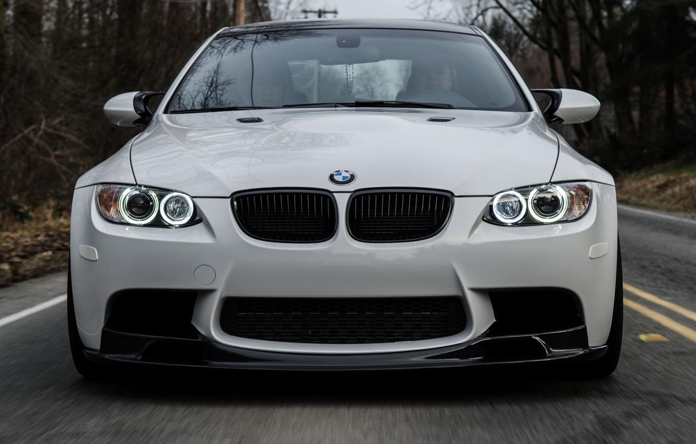 Photo wallpaper road, white, bmw, BMW, white, the front, e92