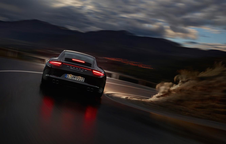 Photo wallpaper night, reflection, lights, speed, Porsche Carrera 4
