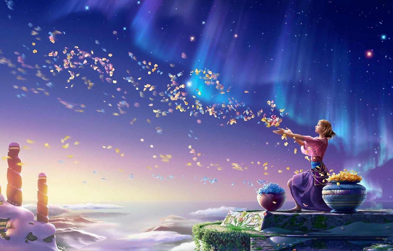 Photo wallpaper the sky, girl, flowers, Northern lights, petals, art, kagaya