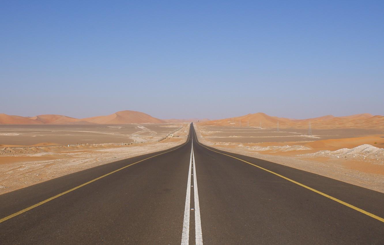 Photo wallpaper The sky, Photo, Road, Desert, Track, Dunes, The dunes