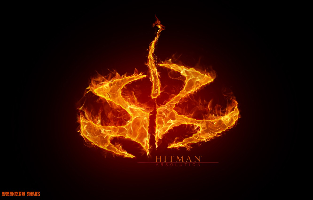 Wallpaper Red Fire Flame The Game Logo Symbol Hitman Hitman