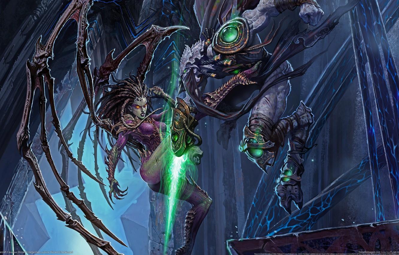 Photo wallpaper Battle, Fight, Starcraft 2, The Queen Of The Zerg, StarCraft 2
