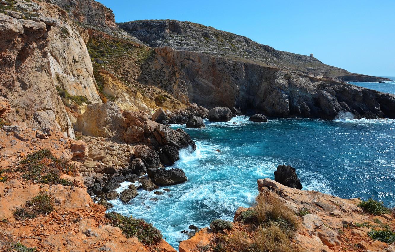 Photo wallpaper sea, the sky, clouds, stones, rocks, Malta