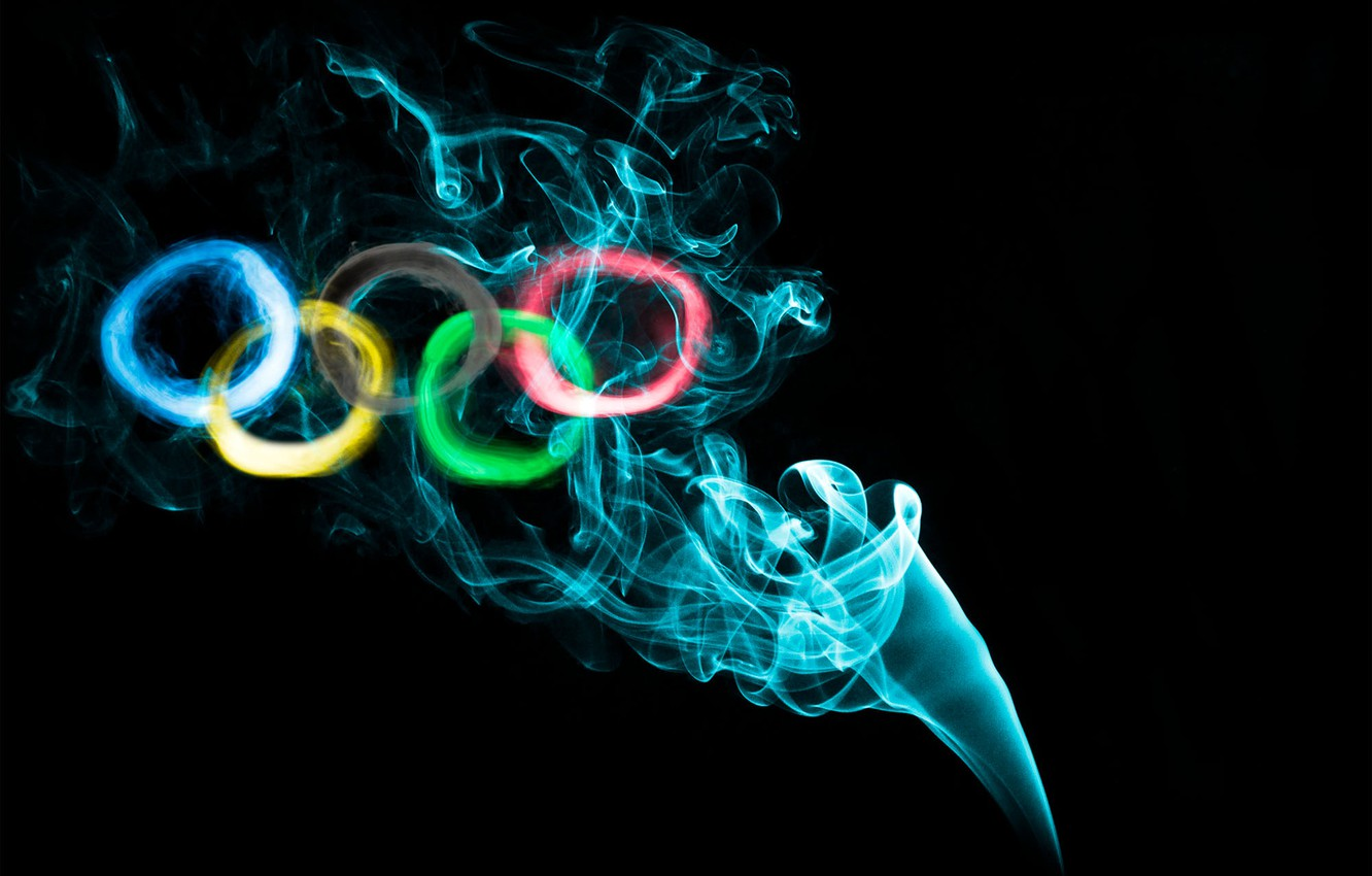 Photo wallpaper paint, smoke, ring, Olympics