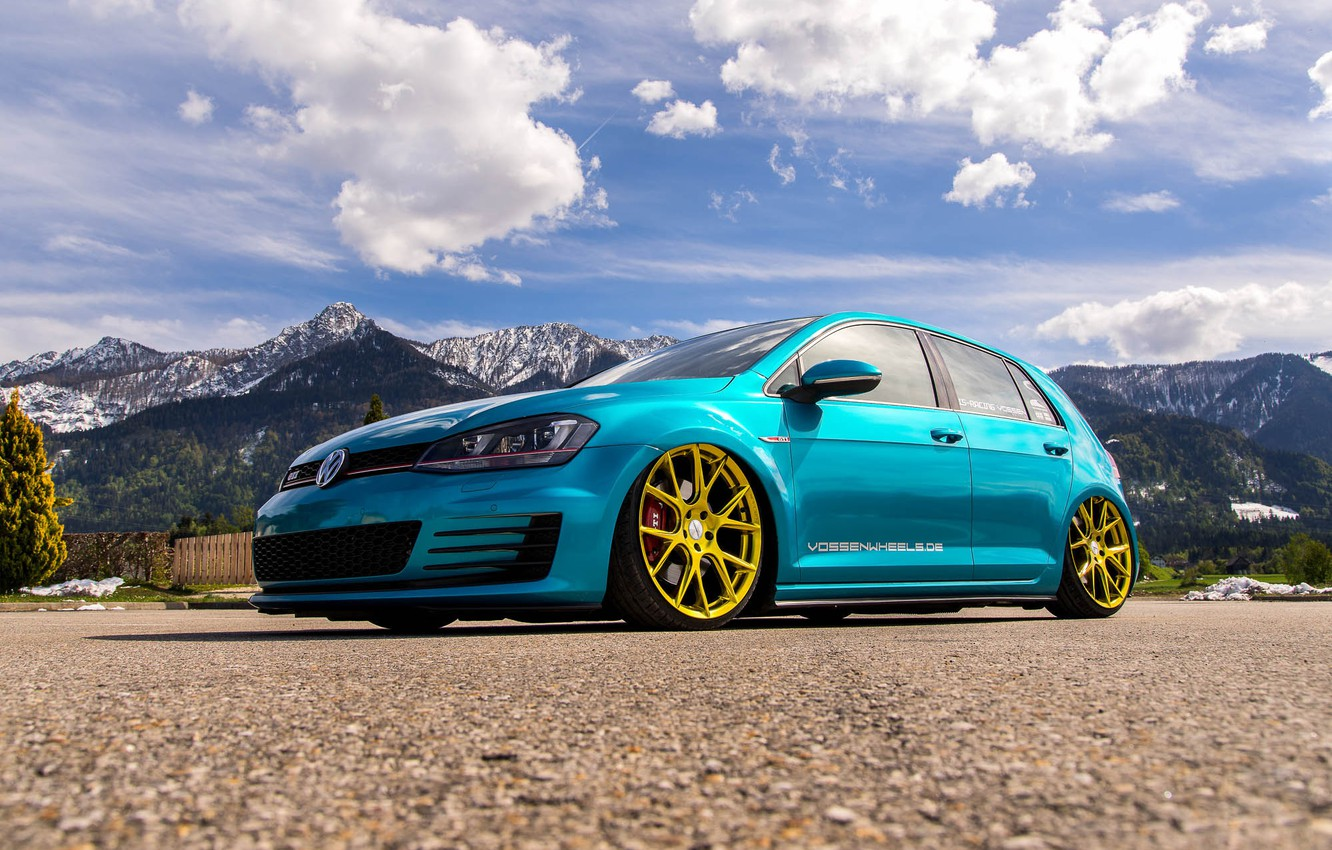 Photo wallpaper mountains, Volkswagen, golf, tuning, GTI, stance, MK7