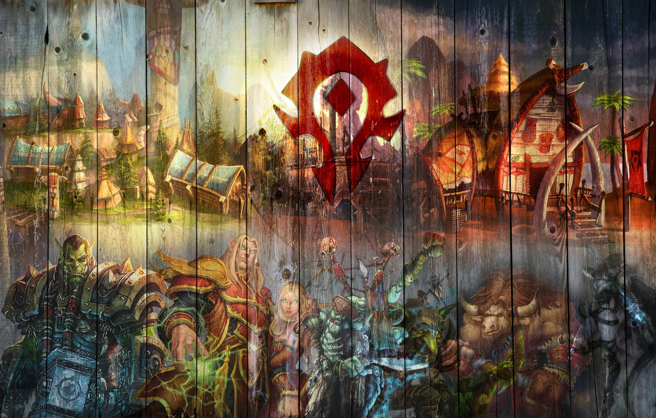 Photo wallpaper coat of arms, undead, Goblin, Orc, warcraft, wow, Horde, world of warcraft, blood elf, Troll, …