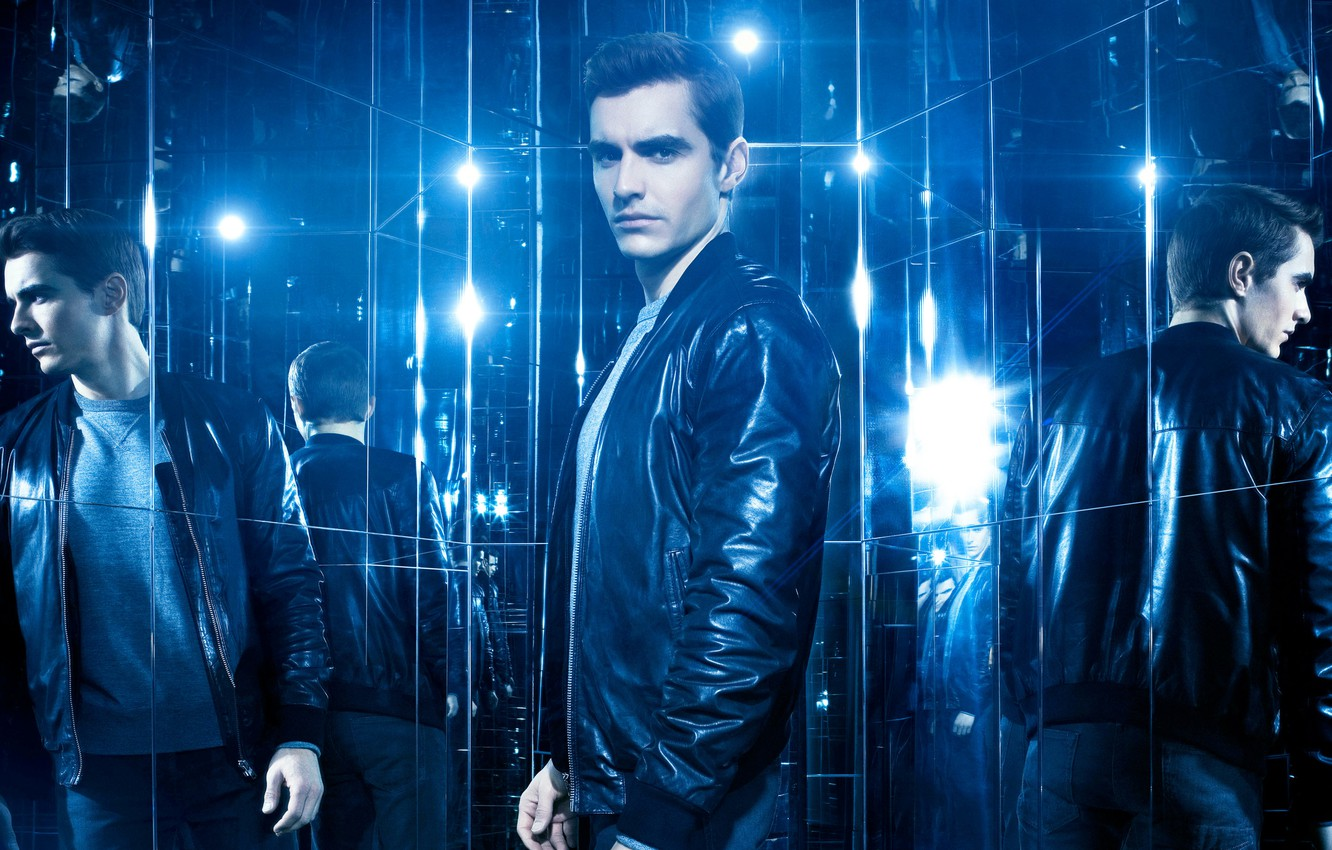 Photo wallpaper reflection, blue, jacket, mirror, poster, Dave Franco, Dave Franco, Now You See Me 2, The ...