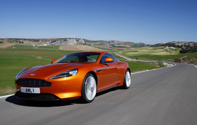 Photo wallpaper road, the sky, landscape, mountains, coupe, Aston Martin Virage