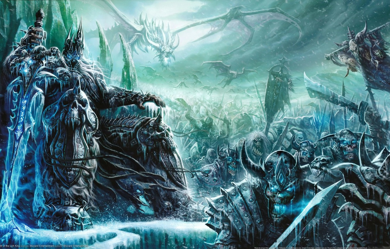 Photo wallpaper the game, sword, art, World of Warcraft, the throne, Goblin, king, Mists of Pandaria, Lich …