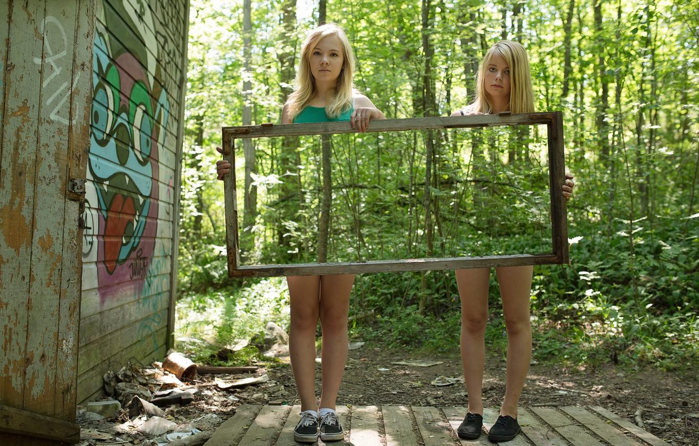 Photo wallpaper reflection, girls, mirror