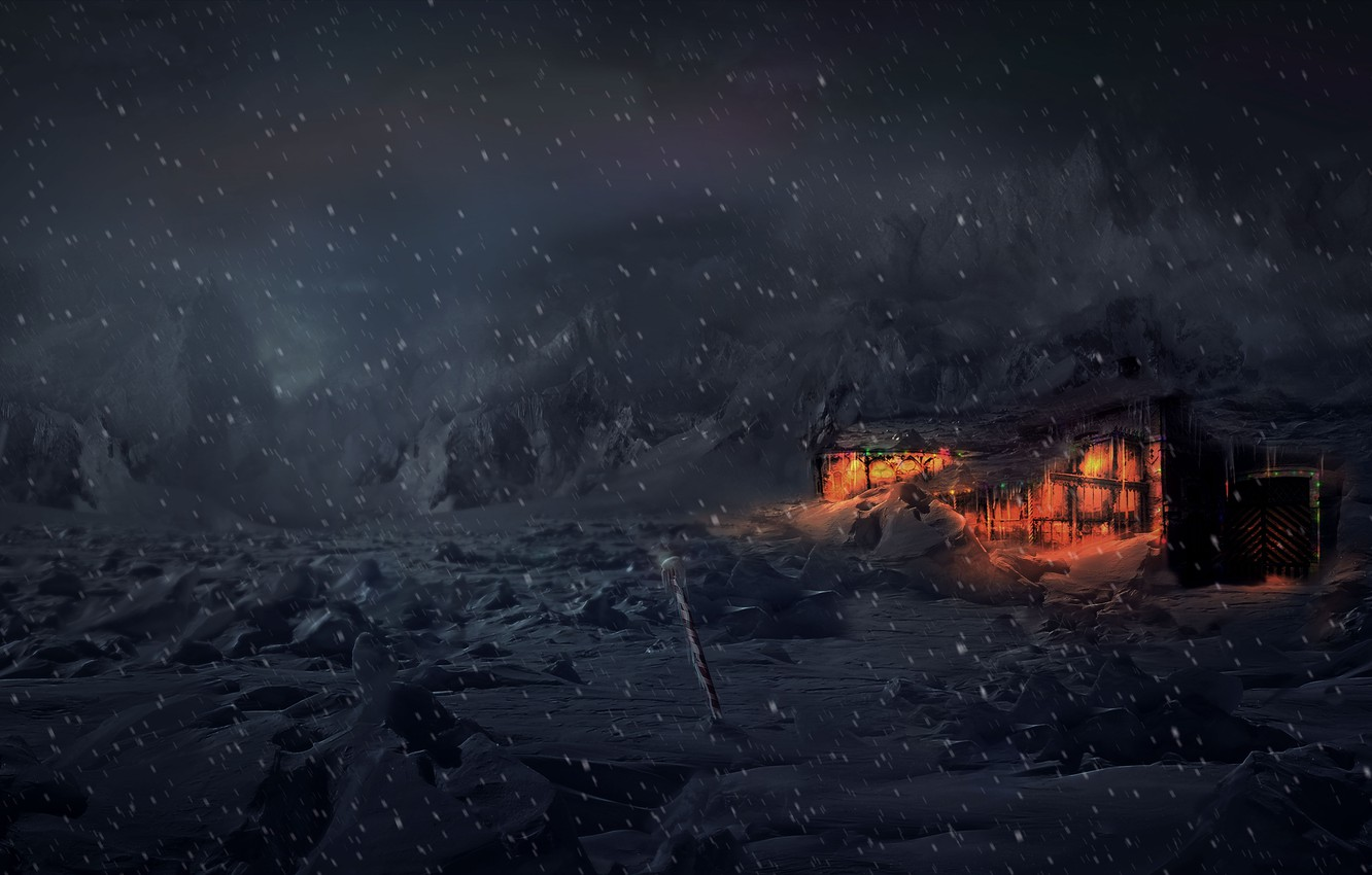 Photo wallpaper winter, snow, night, house, tundra, Concept Art, Computer Graphics, Animation, Video Games, VFX