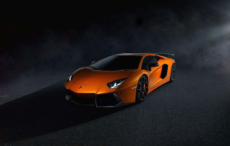 Photo wallpaper Lamborghini, Dark, Light, Orange, LP700-4, Aventador, Supercar, Brake, Spoiler