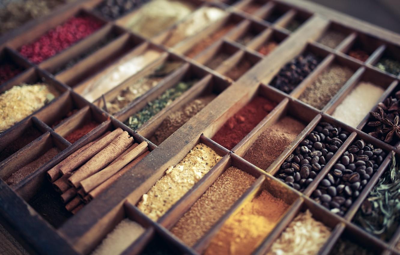Photo wallpaper cinnamon, a lot, spices, grains