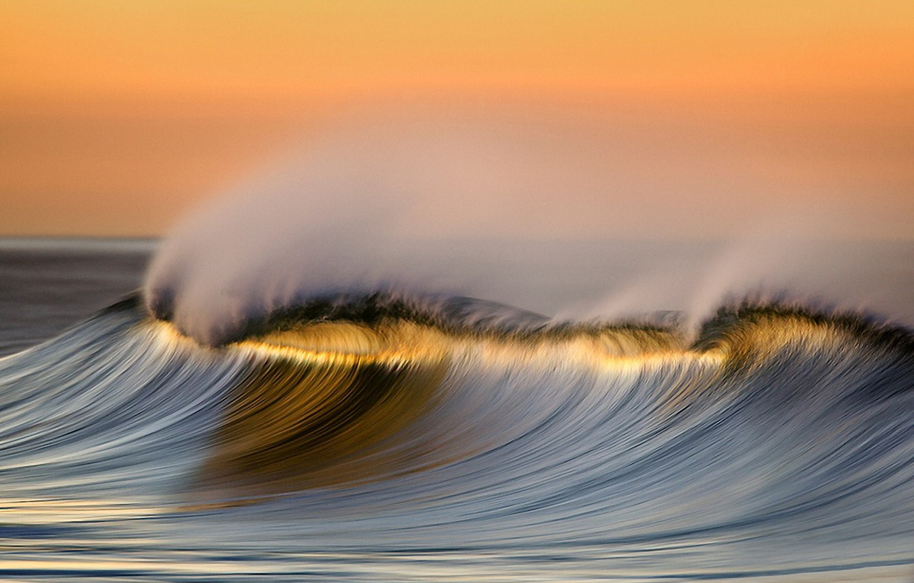 Photo wallpaper sea, water, sunset, squirt, the ocean, wave, beauty