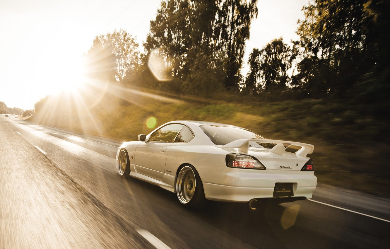 Photo wallpaper road, the sun, glare, S15, Silvia, Nissan, in motion, Nissan