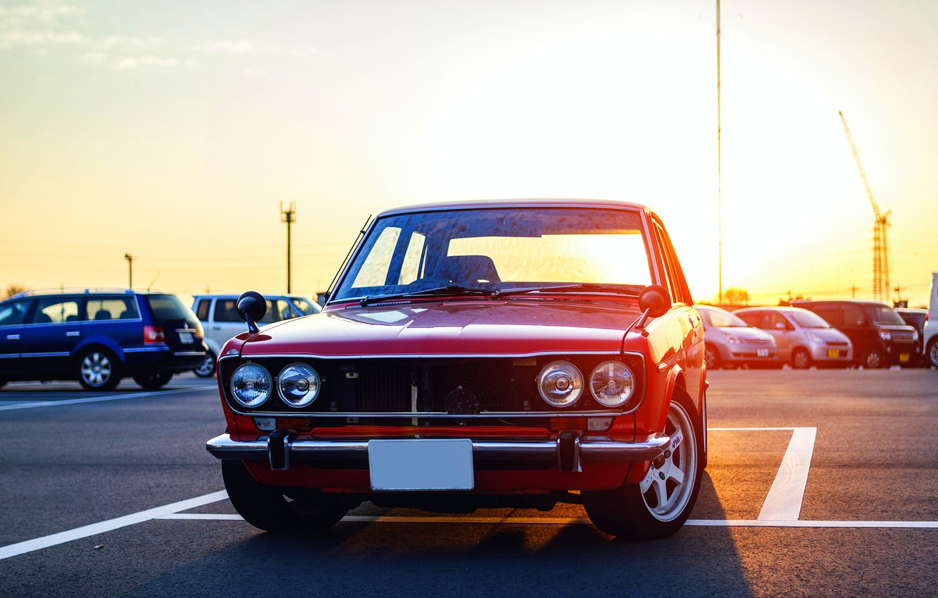 Photo wallpaper red, before, red, Datsun, front, Datsun, 510