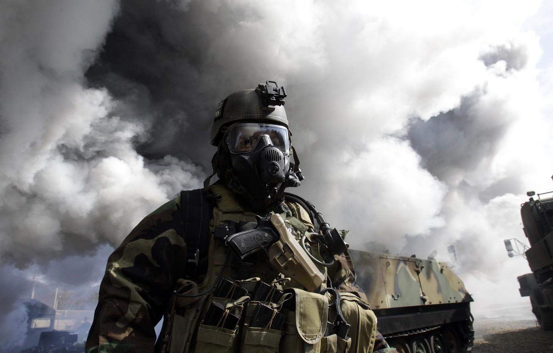 Photo wallpaper gun, smoke, technique, glasses, soldiers, gas mask, unloading